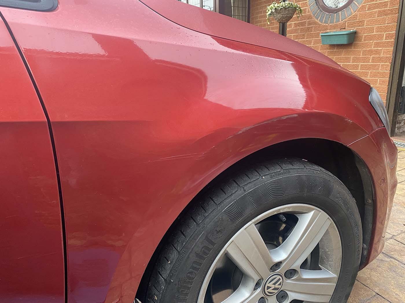 body repair scratch front wheel arch before in Birmingham