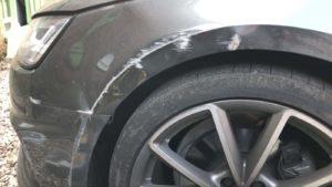 car body repair scratches bmw wheel arch before