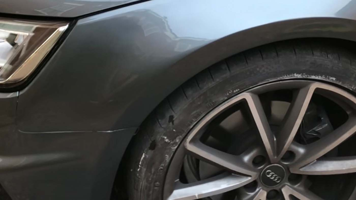 car body repair scratches wheel arch after